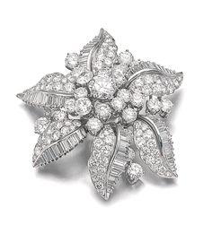 DIAMOND BROOCH, BULGARI Of floral design, set with brilliant-cut and baguette…