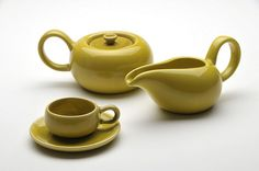 Russel Wright American Modern Demitasse, Sugar Bowl & Creamer in Chatreuse - http://bauerpottery.com/russel-wright.html