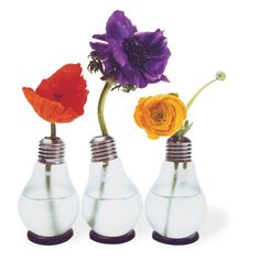 """""""An original light bulb made into a vase. Thanks to the practical gummy ring, this comical vase stands securely straight or aslant. It looks great in a group or just standing alone! Each vase is packaged in an original light bulb box. Nachhaltiges Design, Design Vase, Bulb Flowers, Flower Vases, Wedding Vases, Wedding Flowers, Vases Decor, Centerpieces, Centerpiece Ideas"""