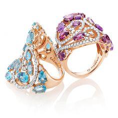 CASATO - ROMA - ST. BARTH -  18 kt rose gold, amethyst, garnet, blue topaz, rhodolite and diamonds