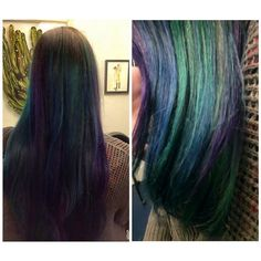Teal, purple and blue on Becca yesterday. I wish we could've gotten a better picture but it was dark and we were tired! #rainbowhair #colorfulhair #hairbrained #btchairpics #haircolor #joicocolorintensities