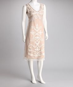 Take a look at this Taupe & Ivory Embroidered Lace Dress by Blissful & Breezy: Women's Apparel on #zulily today!