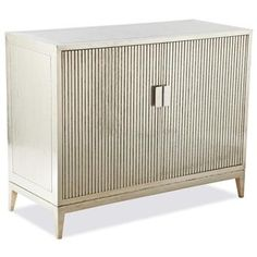 Lopez Hollywood Regency German Silver Ribbed 2 Door Cabinet