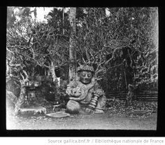 "1885 French photograph of Javanese woods/""monster"" statue"