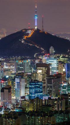 Namsan tower and Seoul,South Korea South Korea Seoul, South Korea Travel, Asia Travel, Seoul Photography, South Korea Photography, Seoul Wallpaper, Seoul Skyline, Seoul Night, Places To Travel