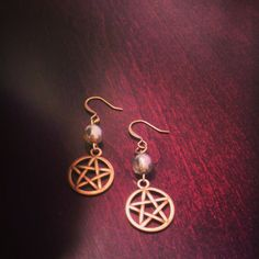 Czech Glass Bead and Pentacle Earrings Blessed Be by SpellboundToo  ANNIVERSARY SALE!