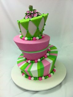 Hot Pink and Green Madhatter - by CakeIt @ CakesDecor.com - cake decorating website