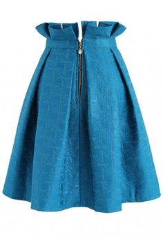 You'll love this deep blue skirt forever! It's A-line silhouette and refreshing hue make it a fun summer piece. Pair with a ruffled, sleeveless blouse and strappy heels.  - Ruffles trimmed waist - Texture shimmering surface - Box pleats from waist - Back zip closure - Lined - 97% Polyester, 3% Metallic fiber  - Hand wash cold Size(cm)Length  Waist   XS               59        66   S                  59        70    M                 59        74 L                  59        78 Size(in...