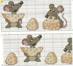 Cross-stitch Cheesy Mice... no color chart available, just use pattern chart as your color guide.. or choose your own colors...   .. Mundo da Jake: Rato - Ponto Cruz - Parte 3