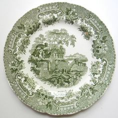 Antique Green Transferware Plate  by EnglishTransferware on Etsy