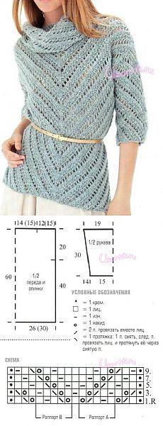 Пуловер спицами голубого цвета - Описание вязания, схемы вязания крючком и спицами   Узорчик.ру