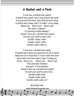 bushel and a peck lyrics printout Baby Lyrics, Great Song Lyrics, Sing Along Songs, Silly Songs, Baby Songs, Songs To Sing, Music Lyrics, Kids Rhymes Songs, Songs For Toddlers