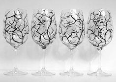 Spooky tree wine glasses