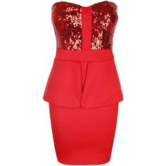 Red Sequin Bustier Peplum Dress ($36) ❤ liked on Polyvore