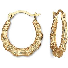 10K Gold Puffed Bamboo Hoops ($45) ❤ liked on Polyvore featuring jewelry, earrings, accessories, bamboo jewelry, hinged earrings, bamboo hoop earrings, gold jewellery and party jewelry