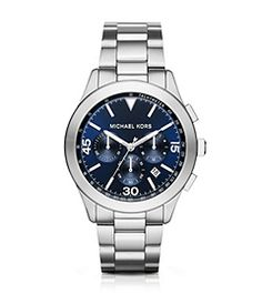 56c857df5850 Sale Michael Kors Silver-Tone Gareth Watch The dial markers on this classic Michael  Kors Gareth sport watch make a standout statement while a navy dial and ...