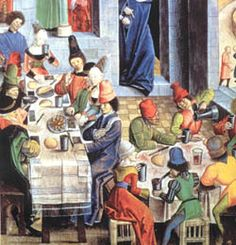 typowa flamandzka tawerna - A typical tavern scene from the early 15th century in one of the burgeoning Flemish urban centers.
