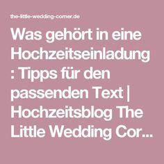 Was gehört in eine Hochzeitseinladung: Tipps für den passenden Text | Hochzeitsblog The Little Wedding Corner