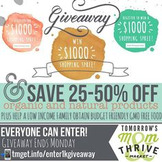 I am beyond  excited and humbled to team up with Thrive Market to not only give Tomorrows Mom readers a chance at winning an amazing 1k Shopping spree!!!! . .  As you may or may not know the increase of disease and illnesses has picked up drastically  in the United States for the first time ever  recent studies have shown that this generation of children will be the first in western civilization that may NOT outlive their parents. . . Yes this is shocking information to any parent. Knowing…