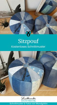 Pouffe Sitzpouf Stool Jeanspouf Upcycling Jeans Upcycling idea sewing sewing pattern free of charge free instructions idea sew Diy Jeans, Sewing Patterns Free, Free Pattern, Jean Diy, Next Jeans, Floral Patches, Textiles, Polka Dot Fabric, Green Fabric