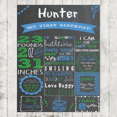 Custom Chalkboard Printable Birthday Sign - Boy First Birthday Poster - Digital Print