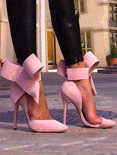 ef999fce761e74 Pretty Bowknot Pointy High Heeled Shoes