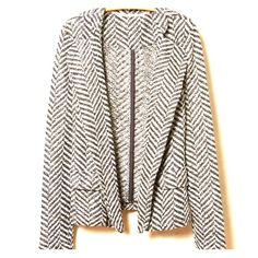 Herringbone Knit Blazer by Dolan Herringbone Knit Blazer by Dolan | Size L | Worn Once in perfect condition {price reflects} Doesn't fit me | Medium-weight polyester-cotton knit | Front pockets | Open front Anthropologie Jackets & Coats Blazers