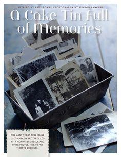 A cake Tin full of memories: displaying old family photos