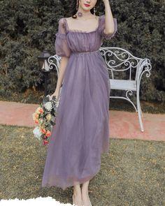Mori Girl Fashion, Cute Fashion, Vintage Fashion, Kawaii Fashion, Asian Fashion, Romantic Style Fashion, Spring Fashion, Lavender Dresses, Lilac Dress