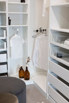 Vaatehuone avohyllyin #vaatehuone #openshelf Closet, Home Decor, Armoire, Decoration Home, Room Decor, Cupboard, Closets, Closet Built Ins, Cabinet