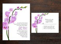 Orchid Wedding Invitation Set by ruffledskirtdesigns on Etsy, $2.00