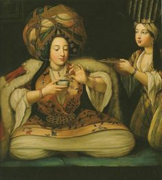 Woman drinking coffee in the Ottoman Empire. Painter unknown (French school)
