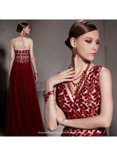 cc92cb87457 Burgundy red sequin floral floor length evening gown Chinese red gauze  bridal wedding dress