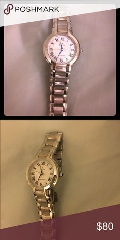Bulova women's classic round bracelet  watch Bulova women's 96L168 Fairlawn classic round bracelet  watch. Precisionist quartz movement, flat mineral crystal white mother of pearl dial, stainless steel case and bracelet. Water resistant to 99 feet. Only worn a few times. Bulova Accessories Watches