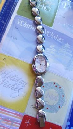 "Retired Design Wrist  Watch Silver Plated  Bracelet with Soft Pink Dial  working new Battery Petite Wrist 5"" max. $15.00, via Etsy."