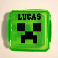PERSONALIZED Minecraft Creeper sandwich lunch box container party favor