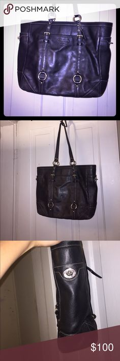 Coach Leather Book Tote Black coach brand bag. Great for school or work. Can fit iPad/small laptop and books. Light wear and tear but nothing major. Open to offers! Coach Bags Totes