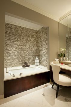 Bathroom Built In Vanities Design, Pictures, Remodel, Decor and Ideas - page 2. Interesting wood surround