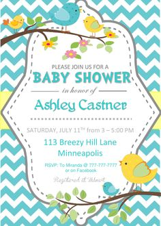 Printable DIY Teal, Yellow or Pink Chevron with  Pink white and teal Baby Shower Invitation Girl with Birds and Houses by PerfectedbyGrace on Etsy