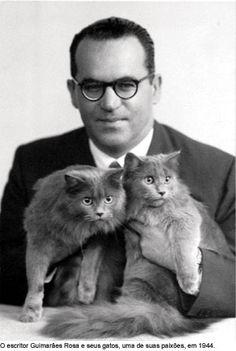 Joao Guimaraes Rosa and his Brazilian kitty.
