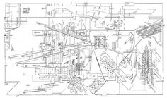 Daniel Libeskind, Micromegas: The Architecture of End Space. The Garden Sceenprint on paper Architecture Concept Drawings, Architecture Student, Architecture Diagrams, Line Drawing, Drawing Sketches, Bernard Tschumi, Architectural Association, Conceptual Drawing, Garden Drawing