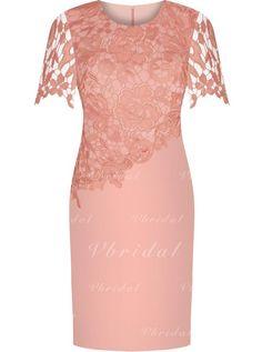 Sheath/Column Scoop Neck Knee-Length Satin Lace Mother of the Bride Dress (008146316) - mvbridal