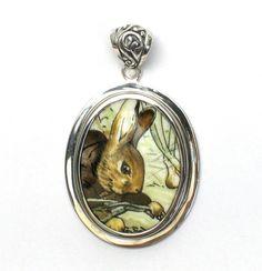 Broken China Jewelry Beatrix Potter Benjamin Bunny In the Garden Sterling Pendant