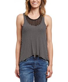 This Black Stripe Hi-Low Tank is perfect! #zulilyfinds
