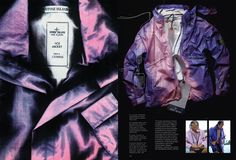 Want to see a good page from the Massimo Osti book? A really really ___ good page?  How about this one? Purple ice jacket, from Osti's personal wardrobe, Osti testing said jacket in the carribbean and image of an ice jacket under the lid of a photocopier, from the first catalogue Osti produced dedicated to his new invention.  Full book can be purchased here: http://ideasfrom.massimoosti.com/