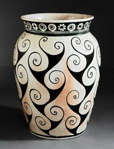 """c.1940 - Shearwater Pottery - Monumental Pottery Vase Thrown by Peter Anderson Then Decorated by Mac Anderson - 26 3/4"""""""