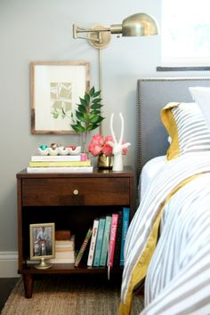 I'm a huge fan of how wall sconces look in bedrooms, whether paired with lamps on the nightstand or alone. House Tweaking  Apartment Therapy  source unknown  Alexa Hampton I just discovered these when shopping for lighting for my boys' bedroom and thought I'd pass this deal along. Pottery Barn sconce // Allen … #walllamps