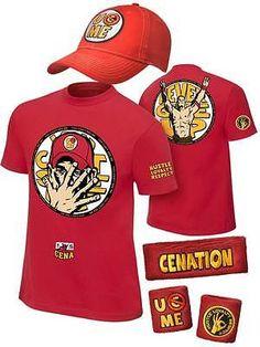 John Cena Boys 2014 Red Kids Costume T-shirt Hat Wristbands - Best Seller List Costume Hats, T Shirt Costumes, John Cena, Wwe Shirts, Colorful Shirts, Boys, Sports, Red, Halloween 2016