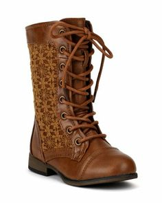 Details about Girl Leather PU Military Boots Lace- Up Boots ...
