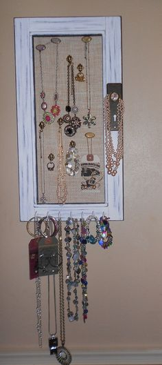 Jewelry Display. Home decor.  Upcycled.  MUST HAVE for girls, teens, women of all ages..  Birthday gift for her. vintage pieces.. $49.99, via Etsy.